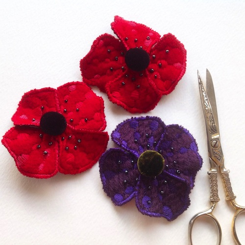 Poppy Brooches by Heather Everitt Embroidery (Machine Embroidery)