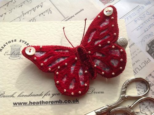 Monarch Butterfly Brooch by Heather Everitt Embroidery (Machine Embroidery)