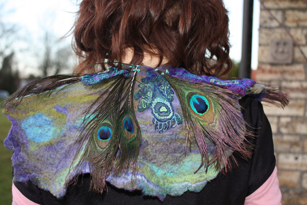 Cape, hand felted with machine embroidery, Ailish Henderson