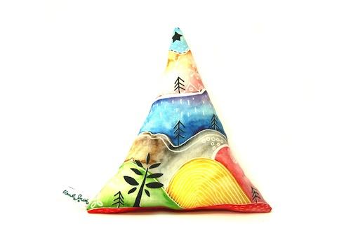 Mini Mountain Cushion by Emma Allard Smith (Machine Embroidery)