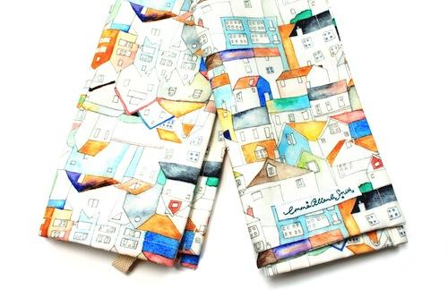 Rooftops Tea Towel by Emma Allard Smith (Machine Embroidery)