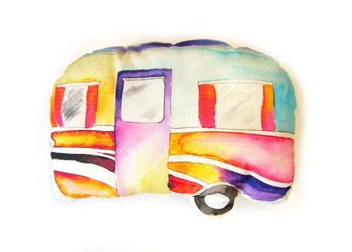 Mini Caravan Cushion by Emma Allard Smith (Machine Embroidery)
