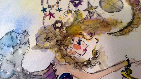 Watercolour-and-ink illustration development for 'She reaches for the stars' bra piece, by Ailish Henderson