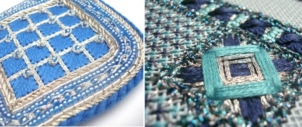 These two designs from the Kreinik museum show silver Japan Threads in Braid and Ribbon versions used with silk threads. Notice the visual effect of a shiny thread next to a silk thread—gorgeous. The silver complements so many colors, and looks beautiful next to silver (or clear) beads.