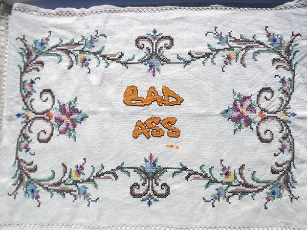 Bad Ass upcycled vintage tray liner, Mr X Stitch