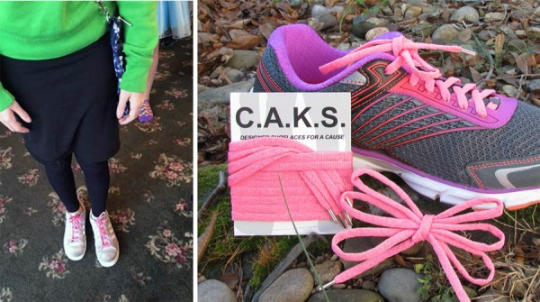 The new C.A.K.S. Laces made from Kreinik glow-in-the-dark thread are durable, washable, have metal tips, and come in two lengths.