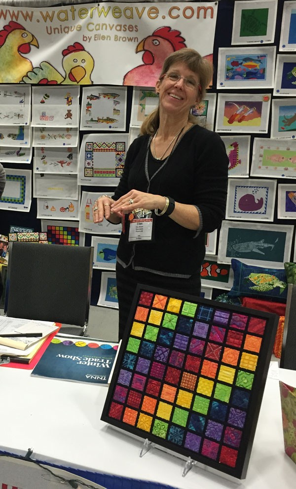 Designer Ellen Brown of Waterweave has created a line of colorful, painted needlepoint canvases to stitch. A painted canvas means that the pattern comes on the base fabric, and you fill in with stitches and threads.