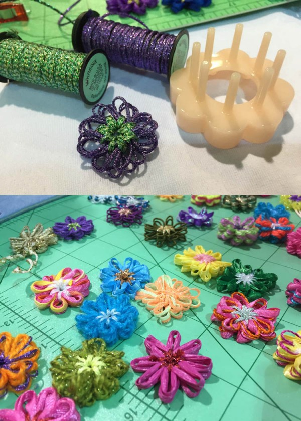 The notions company Clover Needlecraft has a flower maker tool that is just too fun. You can make flower appliques using any thread or ribbon. It's addictive; make a bouquet while watching tv, then add flowers to all your projects, cards, clothes, gifts...endless.