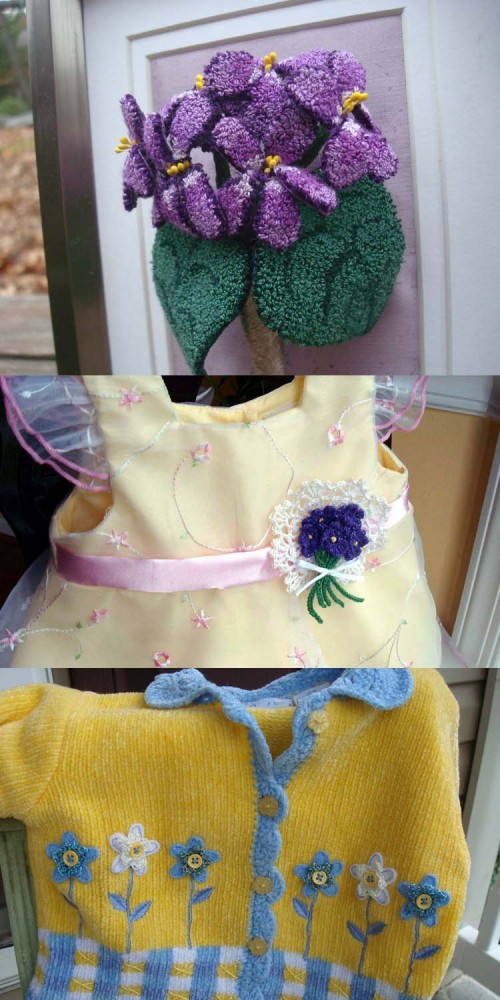 If you knit, crochet, do punchneedle, tatting, or any other technique, make some flowers (plenty of free patterns online) that you can attach to anything.