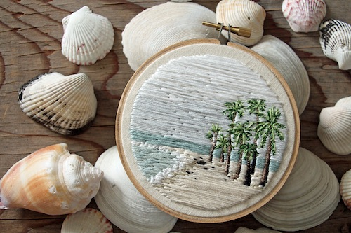 IttyBittyBunnies - Seascape Embroidery Necklace