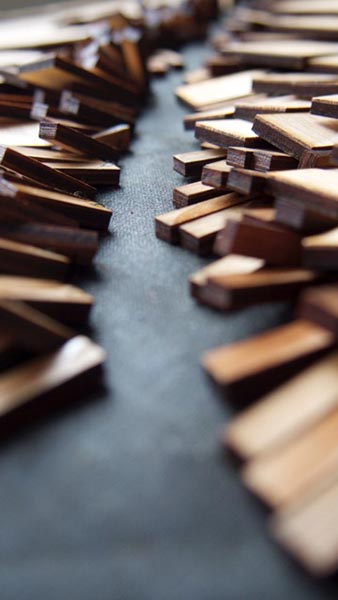 Detail of wood pieces by Giverney Grace Volrath