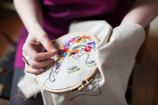 Process. Flower Beard of Blake. Hand embroidery by Rebecca Levi. Photo by Zoe Diamont.