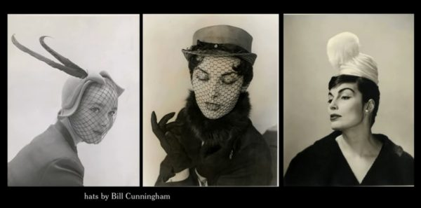 "Bill Cunningham's millinery work (screen capture from the film ""Bill Cunningham New York"")."