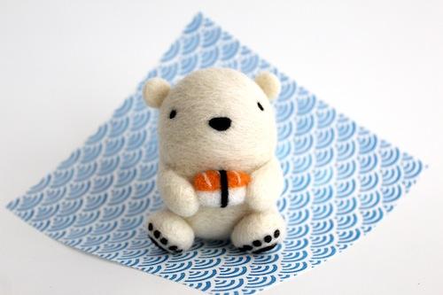 Wild Whimsy Woolies - Polar Bear with Nigiri Sushi