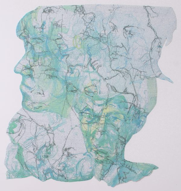 Stewart Kelly - Face to Face 1, Ink and Machine Embroidery on Paper