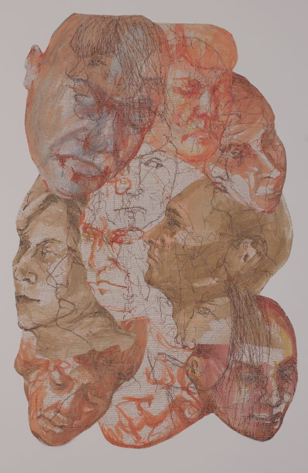 Stewart Kelly - Face to Face 3, Ink and Machine Embroidery on Paper