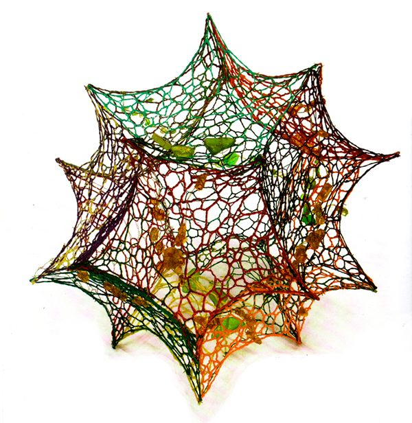 Marian Núñez - Alone - lace and sea glass Photo Credit: Marian Núñez - artisan lacemaker