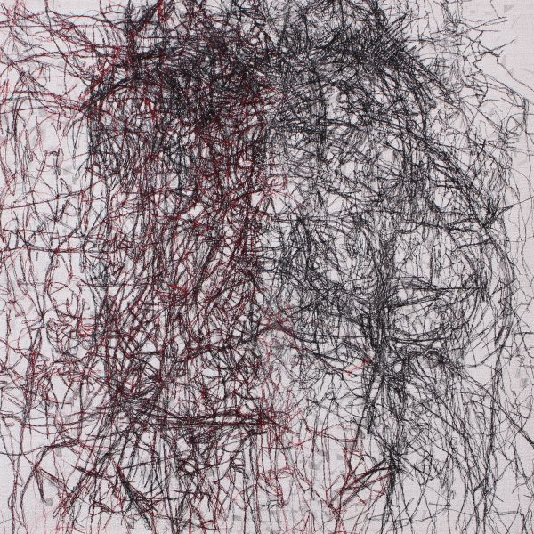 Stewart Kelly - Trace 10, Ink, Wax and Machine Embroidery on Paper