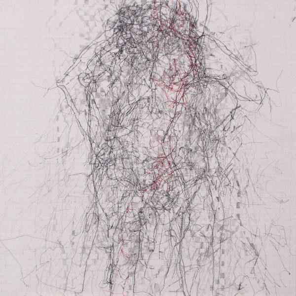 Stewart Kelly - Trace 4, Ink, Wax and Machine Embroidery on Paper