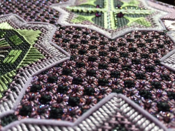 You can create stunning, dimensional needlework when you combine beads, stitches and thread types. Design by Karen Dudzinski.