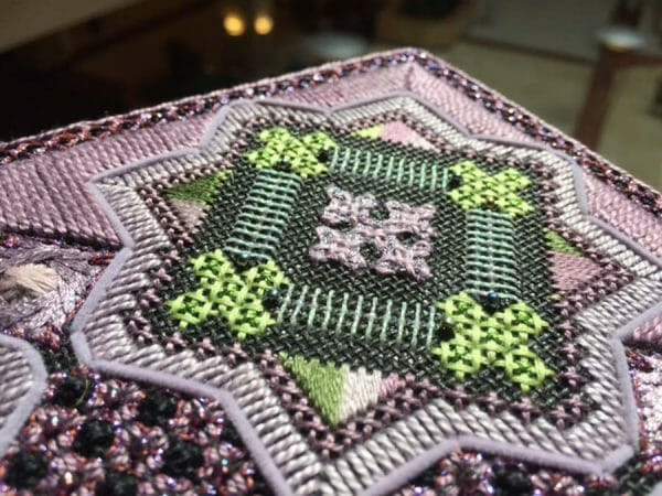 """Lovely combination of stitches, threads, and color. Can you spot the Kreinik metallic in the border? Design """"Dawn to Dusk"""" by Textured Treasures pattern company."""
