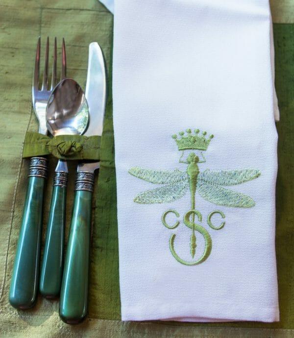 dragonfly monogram by Stitchfork Designs