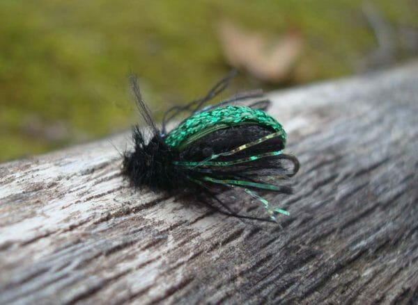 """This fly fishing lure is called a Kiwi Fleetle, and it's a cross between a fly and a beetle. The green back is Kreinik 1/8"""" Ribbon. Watch Harrison Steeves make one here: https://youtu.be/RFve_6EF3LY"""