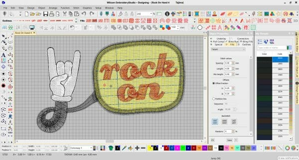 Rock On Hand Embroidery Design from Erich Campbell's The Only Stitch - In Digitizing Software