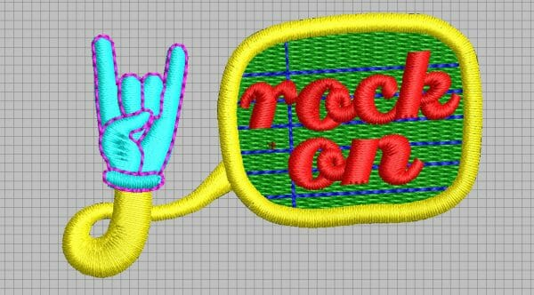 Rock On Hand Embroidery Design from Erich Campbell's The Only Stitch - In Digitizing Software -Opened DST