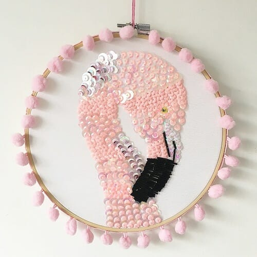 Textiles By Becca - Flamingo Embroidery Hoop