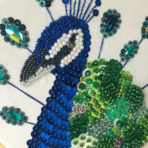 Textiles By Becca - Peacock Embroidery Hoop (detail)