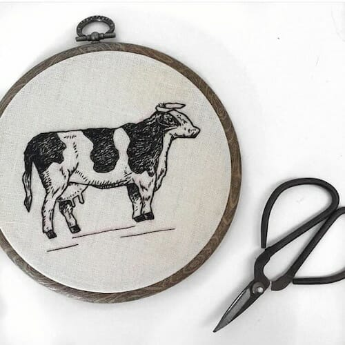 Tiny Hand Embroidery - Cow Embroidery Hoop