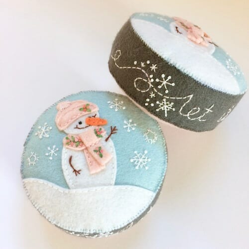 Fabric And Ink - Snowman Pincushion