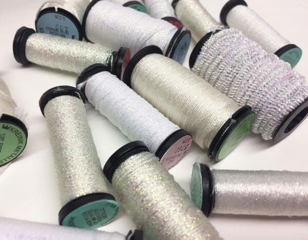 Do you prefer your snow stitches to be pure white (like Kreinik color 5760 Marshmallow), or a little prismatic (like Kreinik color 032 Pearl)?