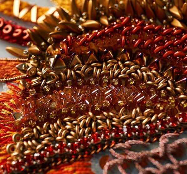Phoenix body details, Claire Edwards, Hand & Lock Prize for Embroidery