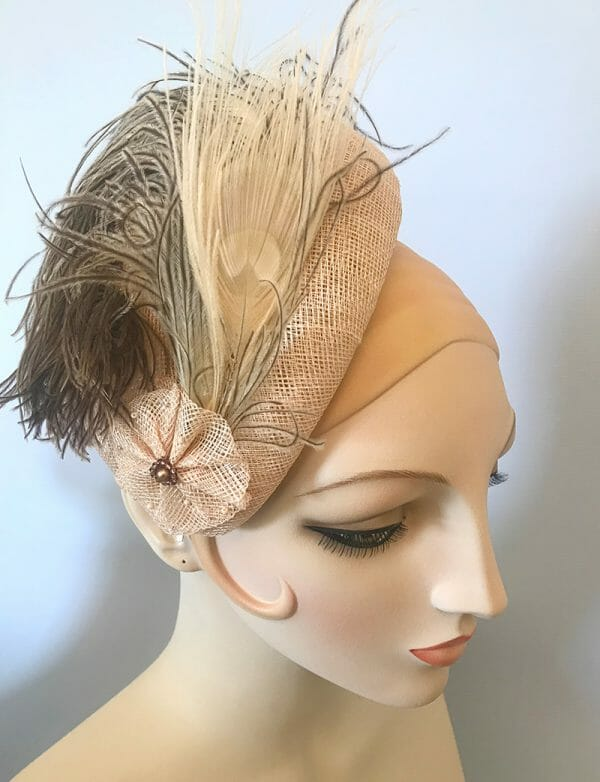 custom sinamay straw headpiece with feathers