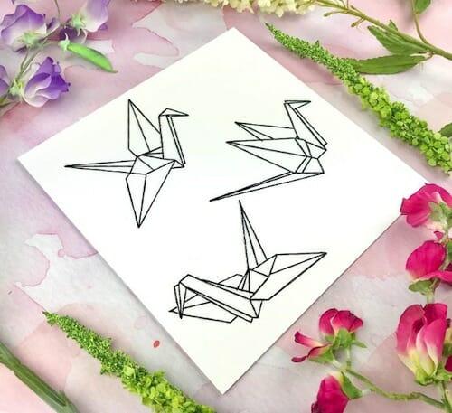 Pulp Stitchin' - Origami Crane Embroidery