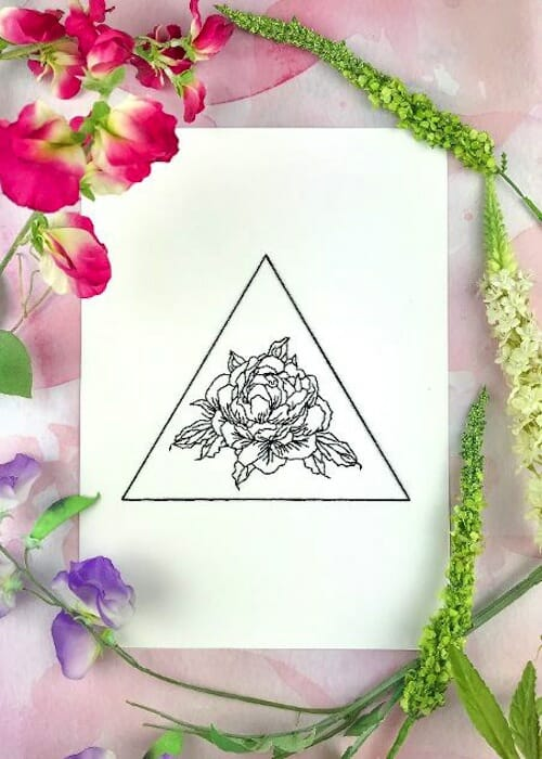 Pulp Stitchin' - Geometric Peony Embroidery