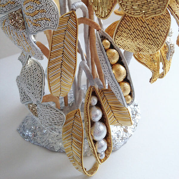 Goldwork embroidery sculpture detail, by Hannah Mansfield
