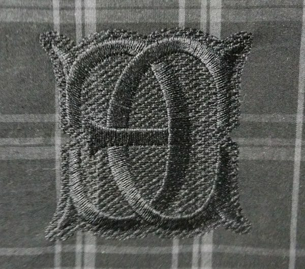 The finished EC monogram, straight on.