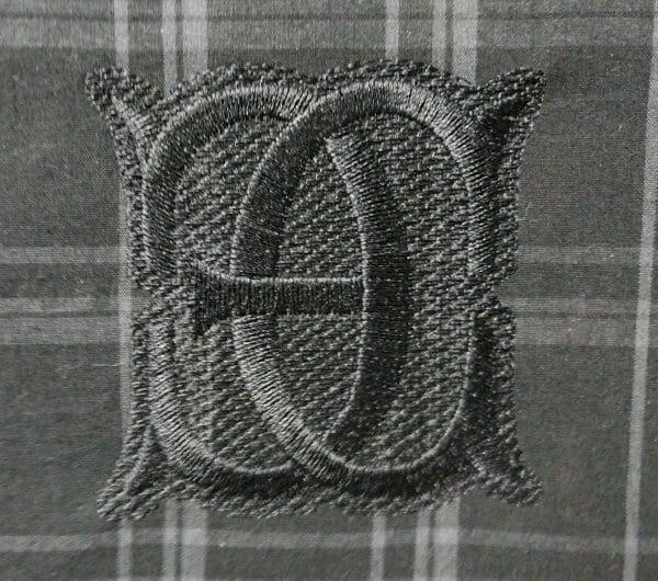 The finished EC monogram, straight on.