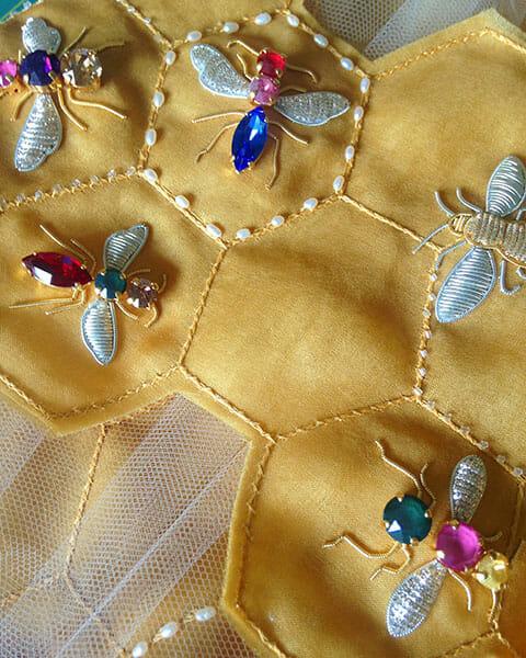 Winning Entry Progress Detail, Hannah Mansfield, Hand & Lock Prize for Embroidery Winner