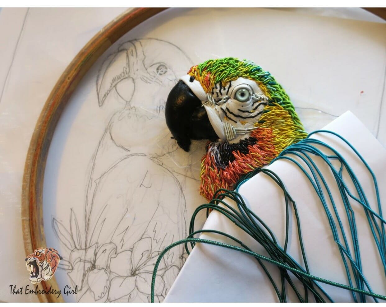 Georgina Bellamy's stunning goldwork parrot.