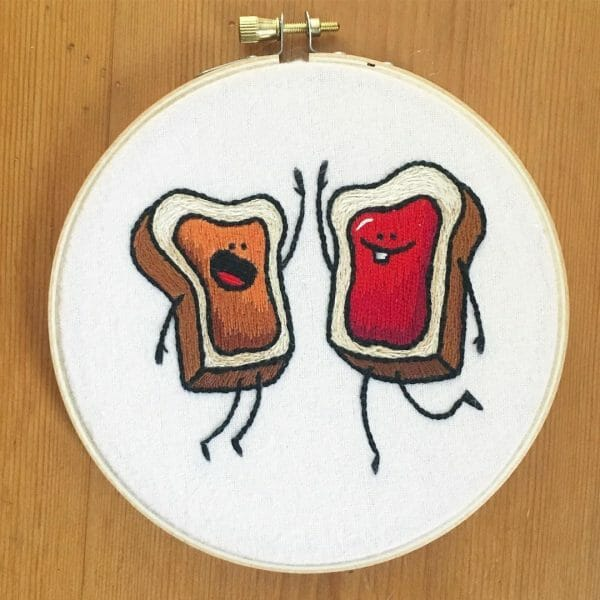 Sarah Beth Timmons' PB&J Sandwich Hand Embroidery