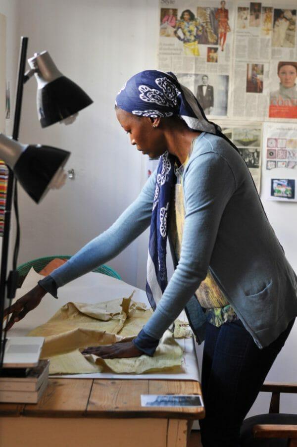 Billie Zangewa in her studio