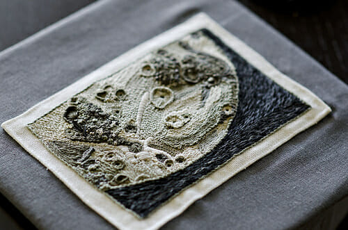 High Texture Hand Embroidery of the Moon by Rachel Hobson aka Average Jane Crafter
