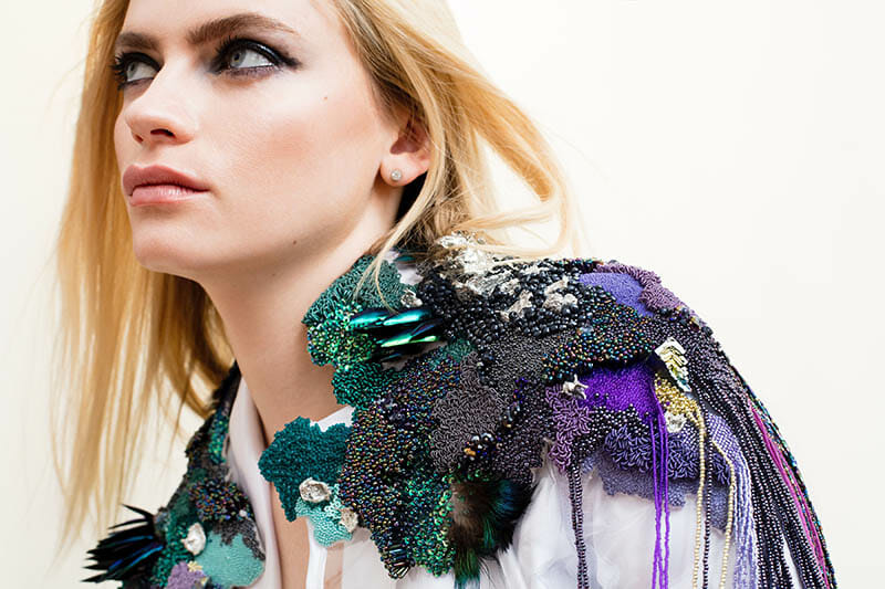 First-place, Fashion Student category, Hand & Lock Prize for Embroidery, by Emma Wilkinson; Photography by Jutta Klee