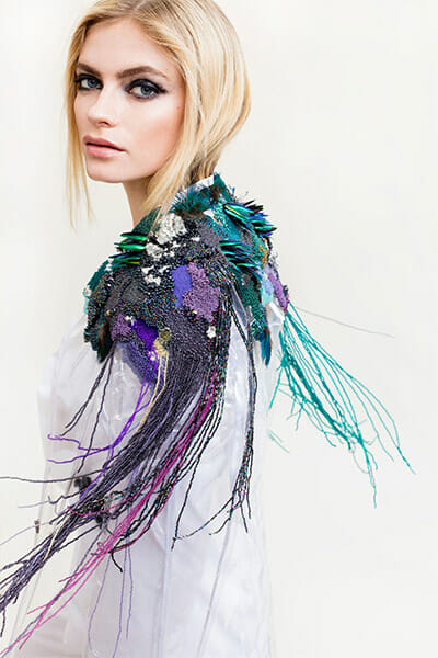 First-place, Fashion Student category, Hand & Lock Prize for Embroidery, by Emma Wilkinson