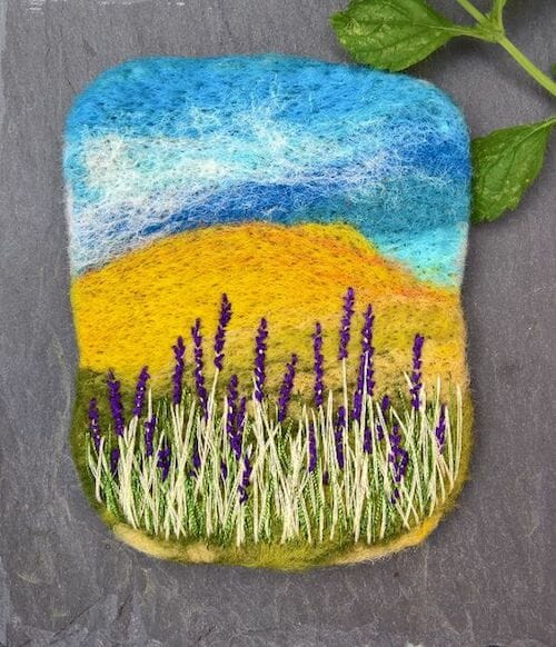NoseyToes - Lavender Landscape Brooch