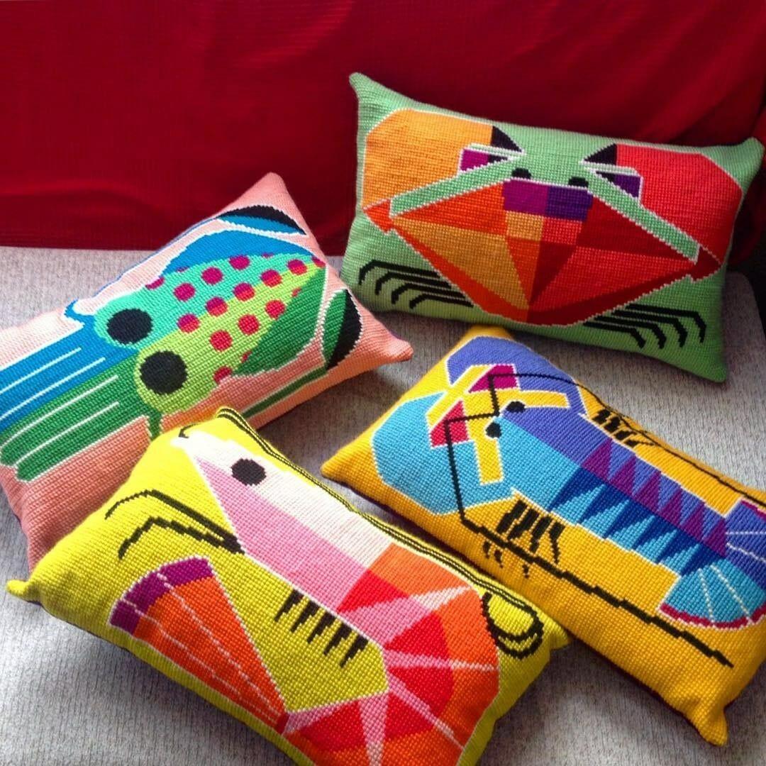 Emily Peacock - Shellfish - Cross Stitch cushions